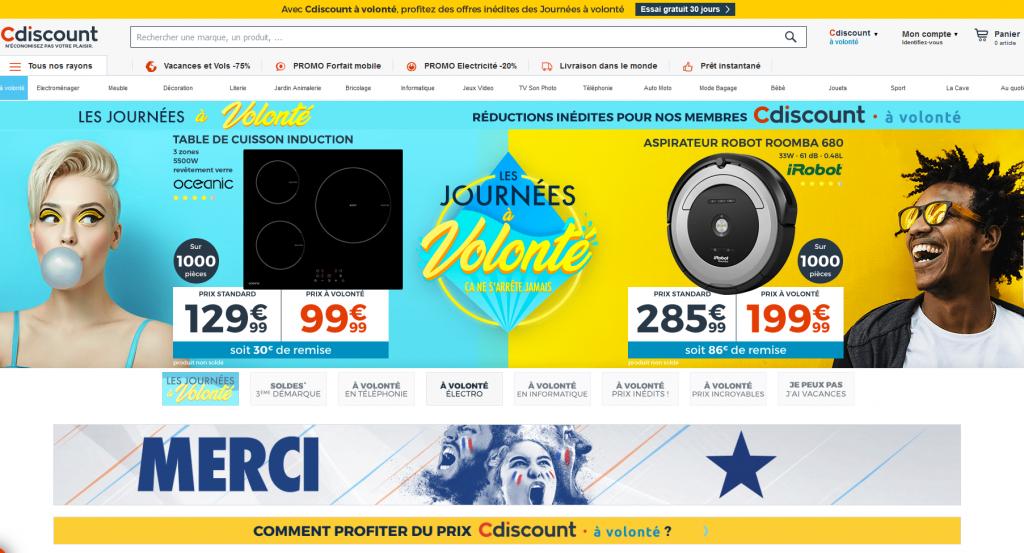 Screenshot_Cdiscount_Startseite