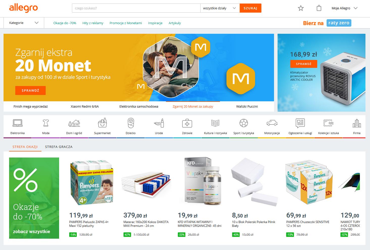 Screenshot des polnischen E-Commerce Marktplatzes Allegro