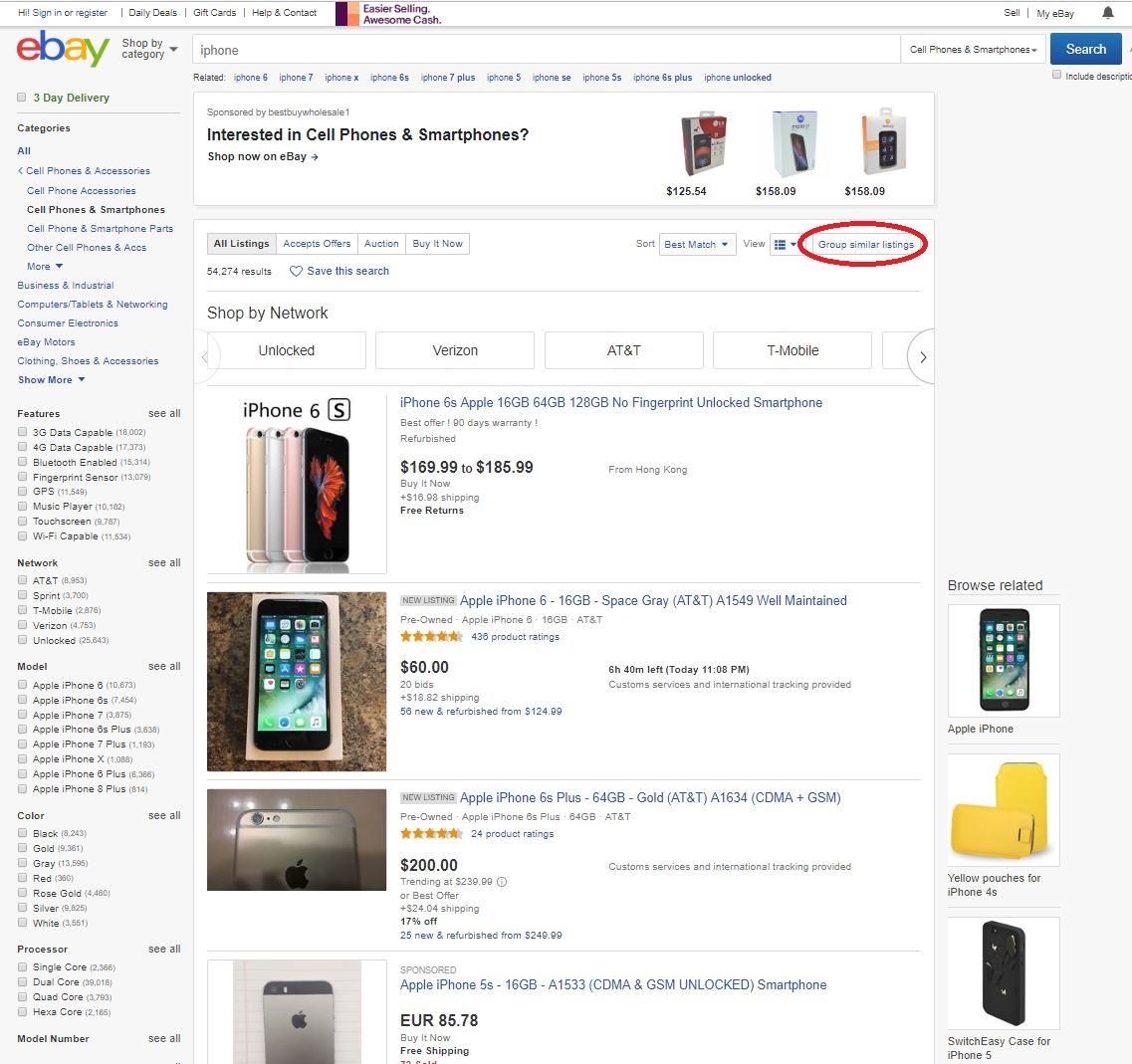 Reguläre Darstellung der Suchergebnisse in eBay
