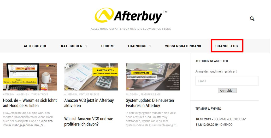 Position des Change-Log im Afterbuy Blog