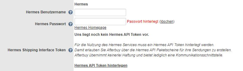Hermes Token beantragen in Afterbuy