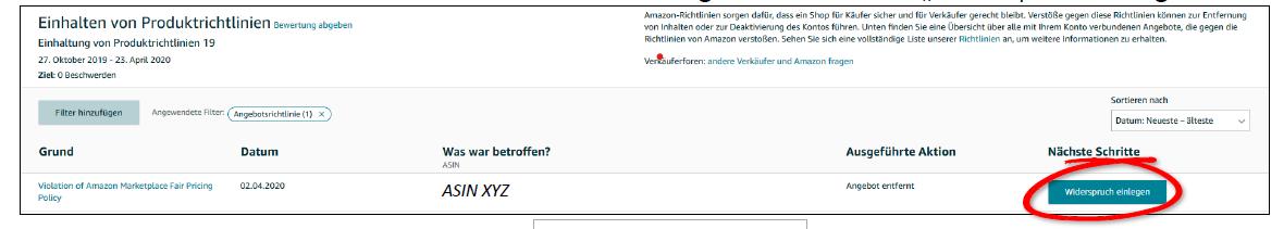 Amazon Widerspruch einlegen