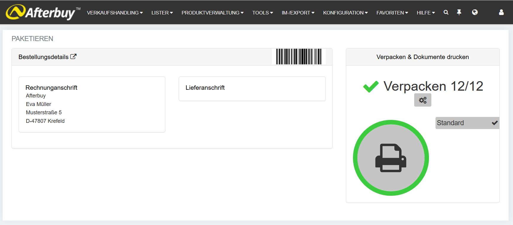 Pick&Pack Adressdatenexport