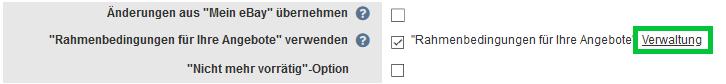 eBay Rahmenbedingungen Verwaltung
