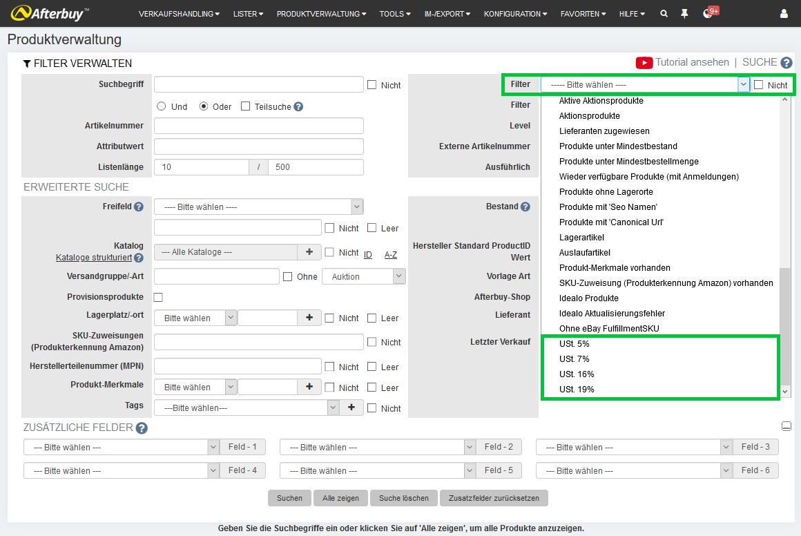 Umsatzsteuerfilter Produktverwaltung