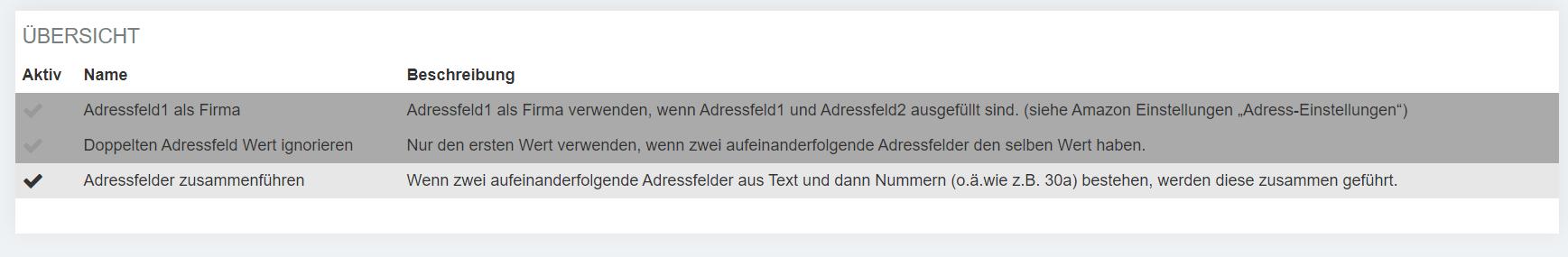 Uebersicht Amazon Adresskorrektur
