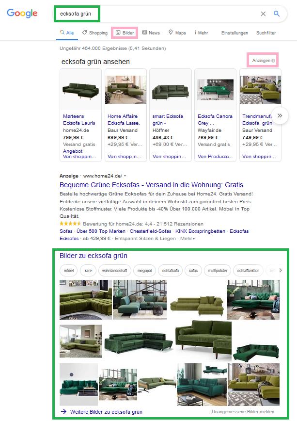 Screenshot Googlesuche Ecksofa gruen