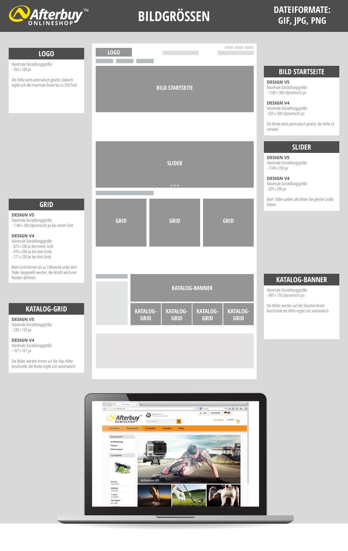 Onlineshop Größen für Bilder und Grafiken